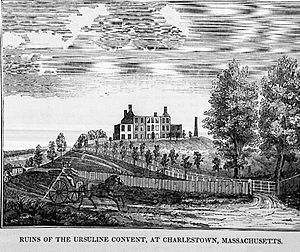 """Ursuline Convent riots - """"Ruins of the Ursuline Convent, at Charlestown, Massachusetts,"""" historical print, 1834, collection of the Charlestown Historical Society."""