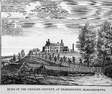 Ruins of the Ursuline convent in Charlestown after the riot of 1834 Ruins of Ursuline Convent 1834 Riots.jpg