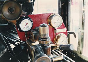 South African Class NG G16A 2-6-2+2-6-2 - Steamchest pressure gauges and cylinder steam flow gauge in no. 141