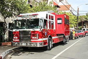 Hazardous materials apparatus - The Santa Barbara Fire Department Hazmat vehicle staged at an incident.