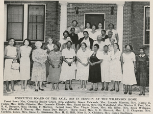 South Carolina Federation of Colored Women's Clubs - The Executive Board of the South Carolina Federation of Colored Women's Clubs in front of the Wikinson Home in 1959.