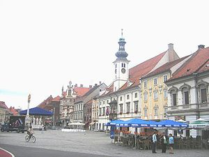 Marburg's Bloody Sunday - Main city square in Maribor (Marburg) where Marburg's Bloody Sunday took place.