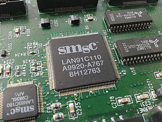 A close-up of the SMSC LAN91C110 (SMSC 91x) chip, an embedded Ethernet chip SMSC LAN91C110 ethernet chip.jpg