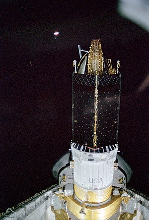 Inertial Upper Stage - Image: STS 6 TDRS A deploy preparations