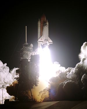 STS-76 - Space Shuttle Atlantis heads towards Earth orbit from Launch Complex 39B