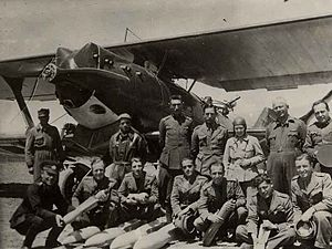 Dersim rebellion - Sabiha Gökçen and her colleagues in front of Breguet 19, 1937-38
