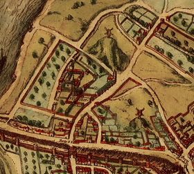 Plan de l'abbaye Saint-Victor de Paris. Extrait du Civitates Orbis Terrarum publié à Cologne en 1572 : on y aperçoit le « moulin de la Tournelle » sur la « butte Coypeau ».