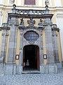 Saint Bernard Cistercian church portal with CoA in Eger, 2016 Hungary.jpg