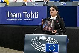 Sakharov Prize daughter of 2019 laureate Ilham Tohti receives prize on his behalf (49238839806).jpg