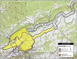 First Battle of Saltville - Map of Saltville I Battlefield core and study areas by the American Battlefield Protection Program.