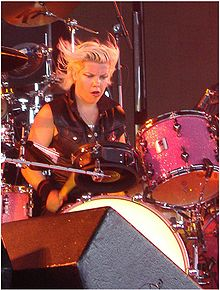 Samantha Maloney on tour with Peaches in 2006.