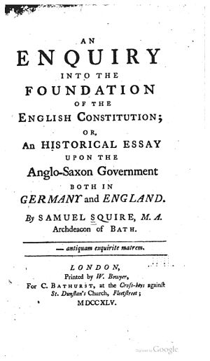 William Bowyer (printer) - Image: Samuel Squire, An Enquiry into the Foundation of the English Constitution (1745, title page)