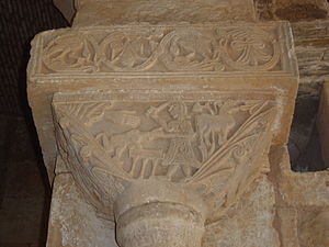 San Pedro de la Nave - Detail of a capital in which is represented The Sacrifice of Isaac