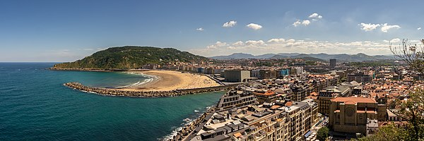 View of San Sebastian with Zurriola Beach and the mouth of the river Urumea.