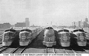 image of Santa Fe passenger locomotives circa 1938