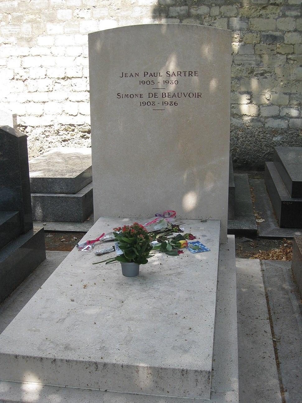 Sartre and Simone de Beauvoir grave, Montparnasse, Paris, France-16June2009