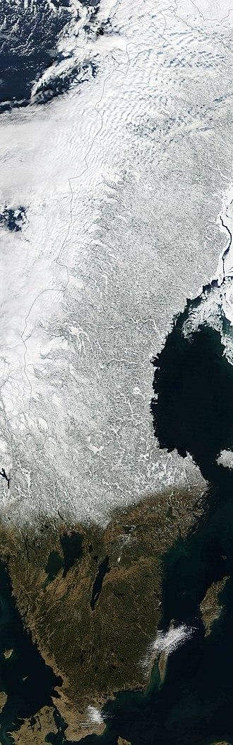 Outline of Sweden - An enlargeable satellite image of Sweden