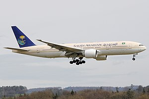Saudi Arabian Airlines B777-268ER (HZ-AKE) landing at Zurich International Airport.jpg