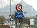 Schaan Liechtenstein Ortsbeginn auf Hauptstrasse (Nord).jpg