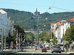 Kassel Hercules in Bergpark Wilhelmshöhe, symbool van de stad (UNESCO Werelderfgoed)