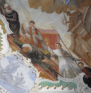 Tanchelm - Norbert of Xanten fighting the heretical preacher Tanchelm; fresco by Johannes Zick in the church of Schussenried Abbey