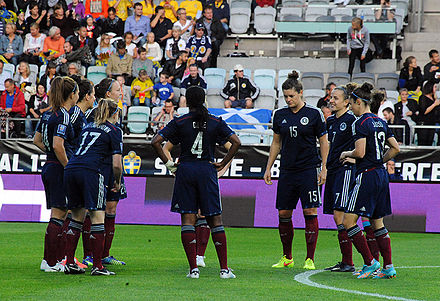 Scotland playing a 2015 World Cup qualifying match in Sweden Scotland WNT 17914.jpg