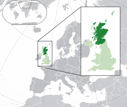محل وقوع  سکاٹ لینڈ  (dark green)– in the European continent  (green & darkgreen and dark grey)– in the United Kingdom  (green)