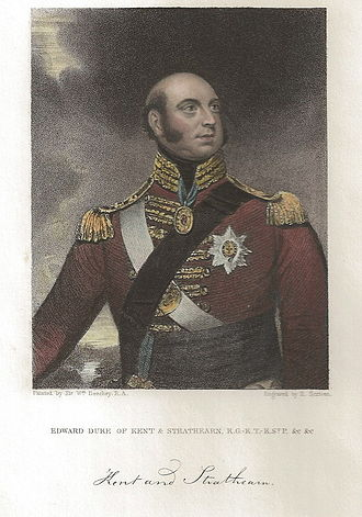 History of monarchy in Canada - 1834 Edward Scriven engraving of Prince Edward Augustus, Duke of Kent and Strathearn