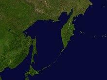 Satellietbeeld van die see van ochotsk