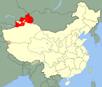 Location of the Second East Turkestan Republic in China