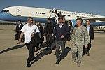 "Secretary of Defense Ash Carter and India's Minister of Defense Manohar Parrikar Walk with Air Combat Command Commander Gen. Herbert J. ""Hawk"" Carlisle as they arrive at Langley Air Force Base, Va..jpg"