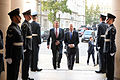 Secretary of defense is greeted by Secretary of State for Defense Michael Fallon at the Ministry of Defense 151009-D-LN567-318.jpg