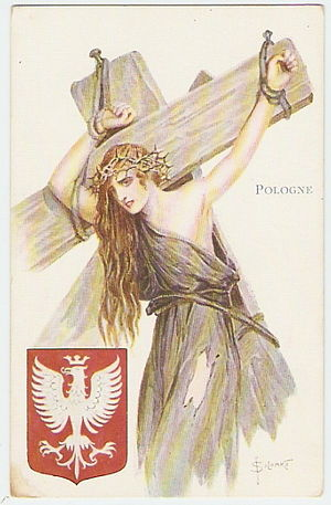 History of Poland during World War I - Contemporary French postcard by Sergey Solomko