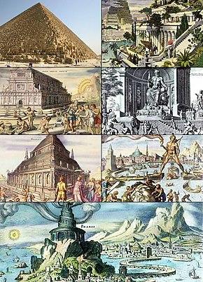 عجایب هفتگانه از چپ به راست بالا به پایین:هرم بزرگ جیزه، باغهای معلق بابل، نیایشگاه آرتمیس، تندیس زئوس، آرامگاه هالیکارناسوس، تندیس غولپیکر رودس و فانوس دریایی اسکندریه