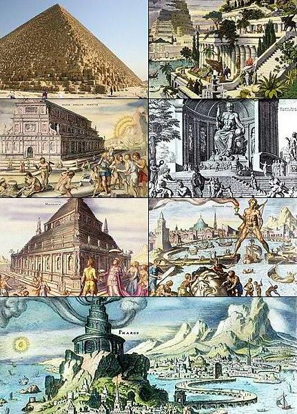 عجائب الدنيا السبع القديمه والحديثه 431px-SevenWondersOfTheWorld.jpg