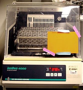 Shaker (laboratory) - Image: Shaking incubator for culture tubes