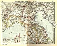 Italia settentrionale secondo l'Historical Atlas: l'Oscela Lepontiorum nell'area settentrionale della Gallia Transpadana