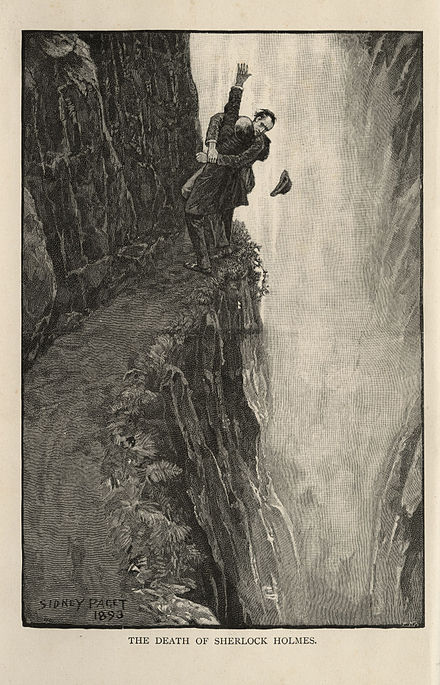 Holmes and Moriarty struggle at the Reichenbach Falls; drawing by Sidney Paget Sherlock Holmes and Professor Moriarty at the Reichenbach Falls.jpg