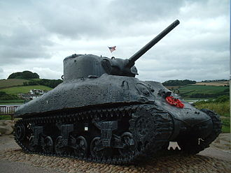 Slapton, Devon - Sherman tank at Slapton Sands, memorial to those who died in Exercise Tiger