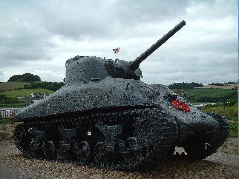 File:Sherman tank at memorial for those killed in Operation Tiger.JPG