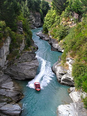 Jetboat - A jetboat on Shotover Canyon in New Zealand, the country for which jetboats were originally invented.