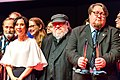 Sibel Kekilli, George R.R. Martin and Jukka Halme at the Hugo Award Ceremony, at Worldcon 75 in Helsinki 2017.jpg