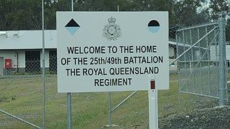 Greenbank Military Range - Sign for the 25th/49th Battalion, Royal Queensland Regiment, Greenbank Military Range, 2014