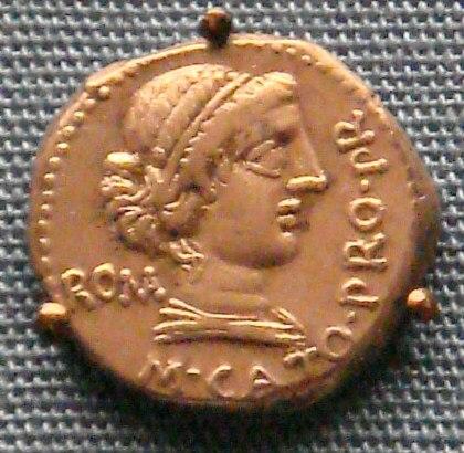 Silver denarius of Cato 47 46 BCE