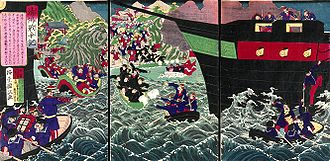 A spirited depiction of the French at the Battle of Fuzhou, by the Japanese printmaker Utagawa Kunisada III SinoFrench war Japanese depiction.jpg