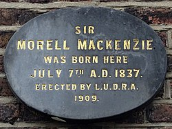 Photo of Morell Mackenzie black plaque