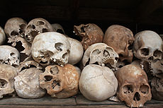 Skulls of the victims of the Khmer Rouge occupation of Cambodia.jpg