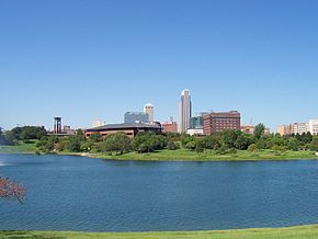 Skyline of the Downtown Omaha, Nebraska from Heartland of America Park.jpg