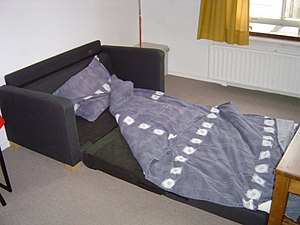 Sofa bed - A couch unfolded into a bed