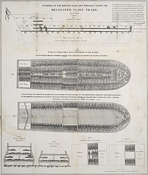 Slave ship - A plan of the slave ship ''Brookes'', showing how 454 slaves were accommodated on board. This same ship had reportedly carried as many as 609 people; published by the Society for Effecting the Abolition of the Slave Trade